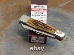 Schatt & Morgan 042104 Worm Groove Bone Quart Gunstock Pocket Knife, Ats34