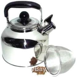 Stainless Steel Large 4.5 Liter Quart Whistling Tea kettle Pot + infuser WK1922