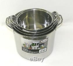 Stainless Steel Stockpot Pot Set 6/8/12/16 QT Quart Beer Brewing Soup Chili NEW