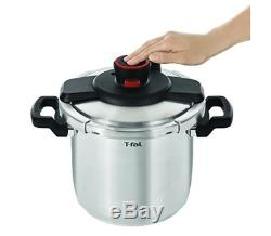T-fal P45009 Clipso Pressure Cooker, 8 Quart Stainless Steel Cooking Pot, Silver