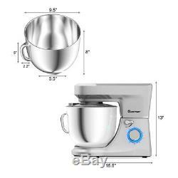 Tilt-Head Stand Mixer 7.5 Quart 6 Speed 660W withDough Hook, Whisk & Beater Silver