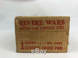 Vintage Revere Ware Copper Clad Stainless Steel 1 Quart Covered Sauce Pan # 1401