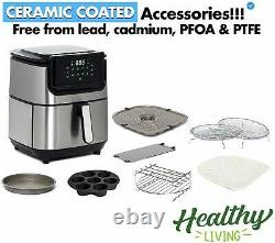 Yedi Evolution Air Fryer, 6.8 Quart, Stainless Steel, Ceramic Cooking Basket