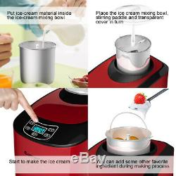 1.6 Pintes Automatique Sorbetière Dessert Glacé Machine LCD Numérique