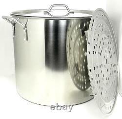 100 Qt Quart Acier Inoxydable Stock Brewing Pot Couvercle Tamale Steamer Rack Ba79/100