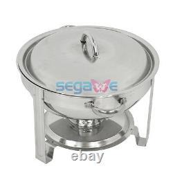 3 Pack Rond Chafing Dish 5 Quart Acier Inoxydable Boîte De Taille Complète Buffet Traiteur