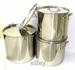32 40 52 Qt Pintes Marmite En Acier Inoxydable Steamer Brew Kettle Withlid Ba76-set3
