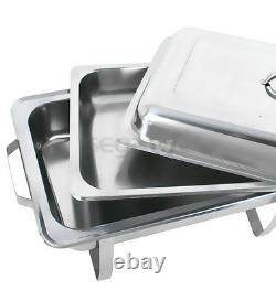 4 Paquets Chafing Dish 8 Quart Stainless Steel Rectangular Chafer Full Size Buffet