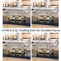 4pack Plateau De Friction Rectangulaire En Acier Inoxydable De 8 Pintes Buffet Complet