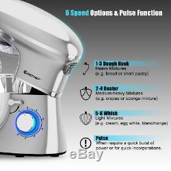 6.3 Pintes Tête Inclinable Alimentation Batteur 6 Vitesses 660w Withdough Crochet, Fouet Argent