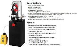 6 Pintes Double Effet Pompe Hydraulique Remorque À Déchargement Unité D'alimentation Camion À Benne Basculante DC 12v