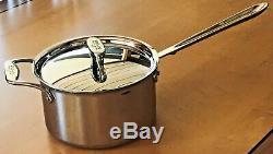 All Clad D5 En Acier Inoxydable 4 Qt Pintes Casserole Pot Avec Couvercle Et Poignée Helper