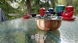 All Clad Plaqué De Cuivre C4 2,5 Quarts Qt Soup Sauce Pot Avec Couvercle Made In America