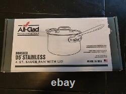 All-clad Bd55204 D5 Poêle À Sauce En Acier Inoxydable Brossé, 4-quart Nouveau Dans La Boîte