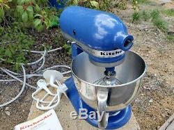 Artisan De Kitchenaid 325 Watts Avec 5 Pintes Tilt Head Batteur Sur Socle Avec Des Crochets Bleu Français