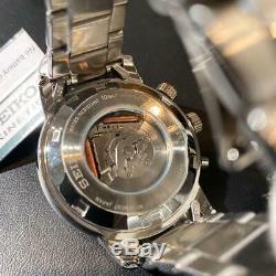 Auth Seiko Montre Sun067p1 Gmt Kinetic Automatique Pintes En Acier Inoxydable 44 MM F / S
