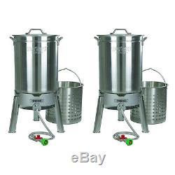 Bayou Classique En Acier Inoxydable 44 Pintes Seafood & Crawfish Kit Cooker (2 Pack)