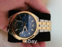 Bulova Curv Regarder Deux Tons Bleu Et Or Quarts Chronographe
