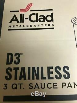 Casserole De Sauce Tout Habillée De 3 Pintes (3 Pintes) D3 En Acier Inoxydable Avec Couvercle Et Garantie Made / USA