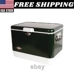 Coleman Steel Ceinture 54 Quart Retro Classic Cooler Box Acier Inoxydable Vert