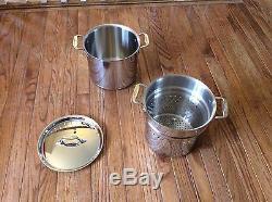 Cuivre All-clad Prophecies 7 Pintes Pasta Pot Pentola, Insert Et Couvercle Nouveau Witho Box