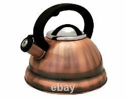 Cuivre Finition En Acier Inoxydable 3-quart Qt 2,8 Litres Whistling Thé Capsule Bouilloire