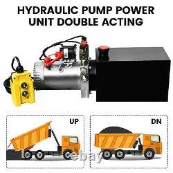 DC 12v 4-quart À Haut Débit À Double Action Pompe Hydraulique Unité De Puissance Remorque