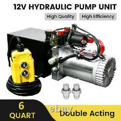 Dc12v 6-quart High Flow Double-acting Hydraulic Pump Power Unit Dump Trailer