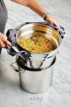 Ensemble D'ustensiles De Cuisine Multicuiseurs En Acier Inoxydable Al-vêtu De 16 Litres Avec Couvercle