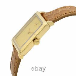 Gomelsky Shirley Fromer Acier Cuir Beige Diamant Cadran Montre Quart G0120023478