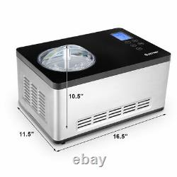 Goplus 2.1 Quart Ice Cream Maker Frozen Machine Inoxydable Avec Contrôle De La Montre LCD