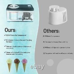 Goplus 2.1 Quart Ice Cream Maker Machine Surgelée En Acier Inoxydable Avec Contrôle Minuterie LCD