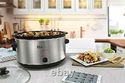 Grande Capacité Crock Pot Stainless Steel Slow Cooker Oval Manual 8.5 Quart