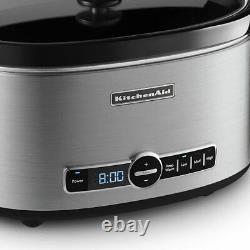 Kitchenaid 6-quart Slow Cooker With Solid Glass LID Rrksc6223ss (rénové)