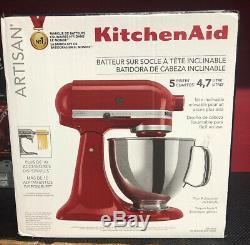 Kitchenaid Artisan Ksm150pser 5 Pintes Stand Empire Mixer Nouveau Rouge