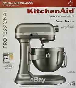 Kitchenaid Professional Series 6 Pintes Bowl Lift Stand Mixer Kp26m9pccu Argent