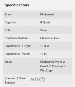 Kitchenaid Professional Series 6 Quart Bowl Lift Stand Mixer Avec Flex Edge Silver