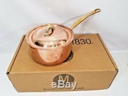 Mauviel France M150b Copper 2 Pintes Casserole Poignées Bronze Nouveau