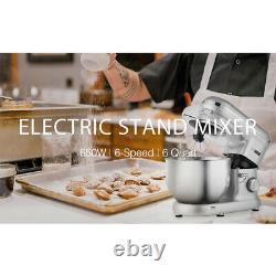 Mélangeur De Stand D'alimentation Électrique 650w 6 Speed 6 Quart Tilt-head Kitchen Beater Argent