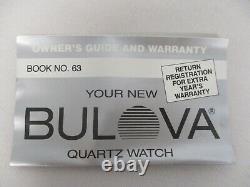 Montre Vintage Bulova Quarts Mens Avec Diamond 92m51 Avec Boîtier