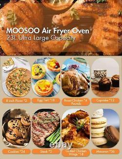 Moosoo 24 Quart/6 Tranches 1700w Air Fryer Grille-pain Four En Acier Inoxydable Huile Moins