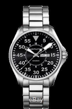 Neuves Khaki Men Aviation Pilote Jour Date Quart Montre H64611135
