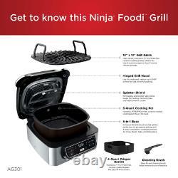 Ninja Foodi Ag301 5-en-1 Grille De Comptoir Électrique Intérieure Avec Friteuse D'air 4-quart