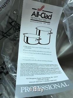 Nouveau All Clad 12 Qt Quart Rondeau Marmite Professionnelle Professionnelle Acier Inoxydable