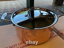 Nouveau All Clad C4 Cuivre Vêtu 8.0 Quart Stock Pan Pot Avec Couvercle Made In USA 4 Ply