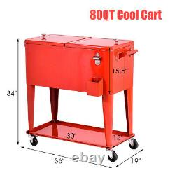 Patio Deck Cooler Rolling Outdoor 80 Quart Solid Steel Construction Party Accueil