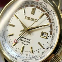 Rare Seiko World Time Kinetic Gmt 5m85-0af0 Automatic Quarts Mens Watch #377