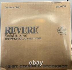 Revere Ware 1801 12 Qt Quart Cuivre Fond Pot Couvert