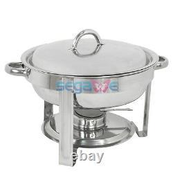 Rond 4 Pack Chafing Dish 5 Quart Acier Inoxydable Plateau De Taille Complète Buffet Traiteur