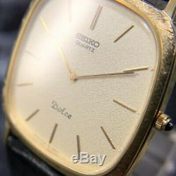 Seiko Dolce 6730-5170 Originale Alligator Cuir Band Pintes Montre Homme # 235